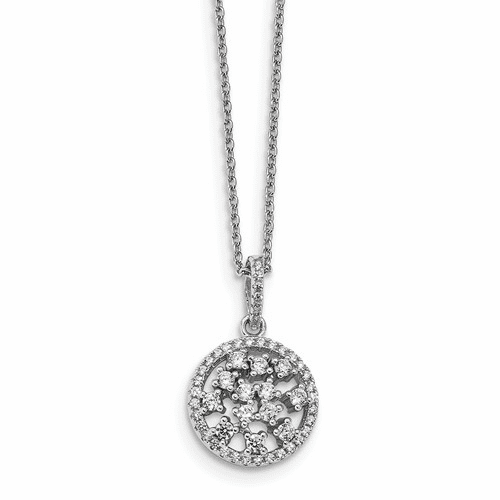 Sterling Silver & Cz Brilliant Embers Necklace Qmp972-18