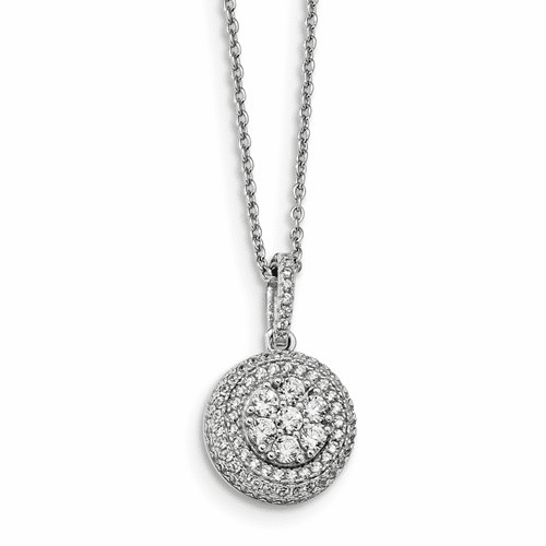 Sterling Silver & Cz Brilliant Embers Necklace Qmp998-18