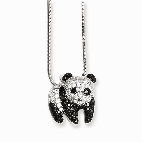 Sterling Silver & Cz Brilliant Embers Panda Necklace Qmp831-18