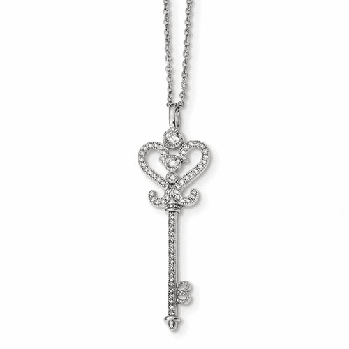 Sterling Silver & Cz Brilliant Embers Polished Key Necklace Qmp291-18