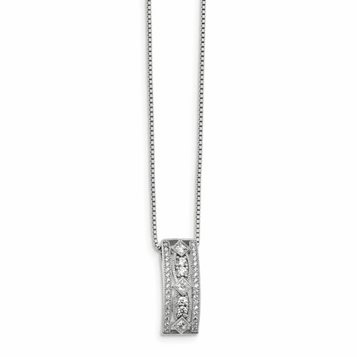 Sterling Silver & Cz Brilliant Embers Polished Necklace Qmp1032-18