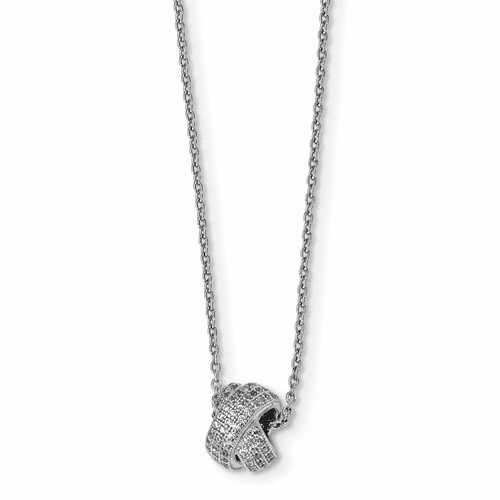 Sterling Silver & Cz Brilliant Embers Polished Necklace Qmp1059-18