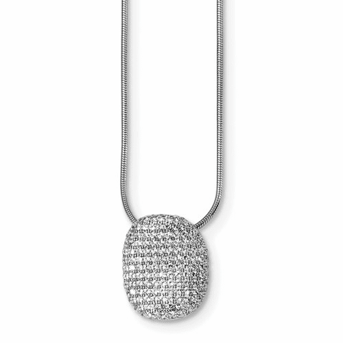 Sterling Silver & Cz Brilliant Embers Polished Necklace Qmp110-18