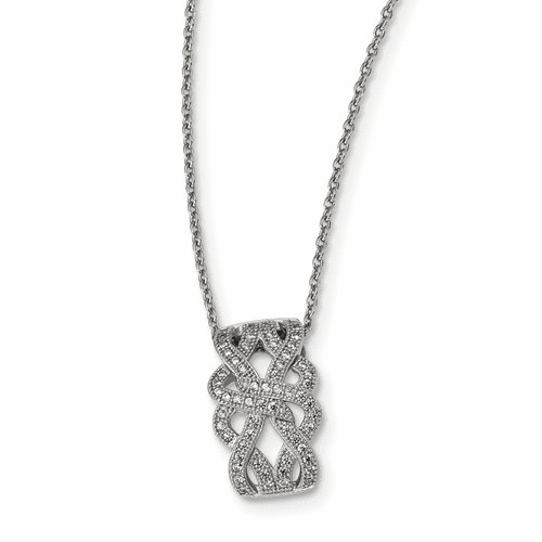Sterling Silver & Cz Brilliant Embers Polished Necklace Qmp1210-18
