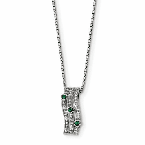 Sterling Silver & Cz Brilliant Embers Polished Necklace Qmp1326-18