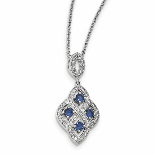 Sterling Silver & Cz Brilliant Embers Polished Necklace Qmp1336-18