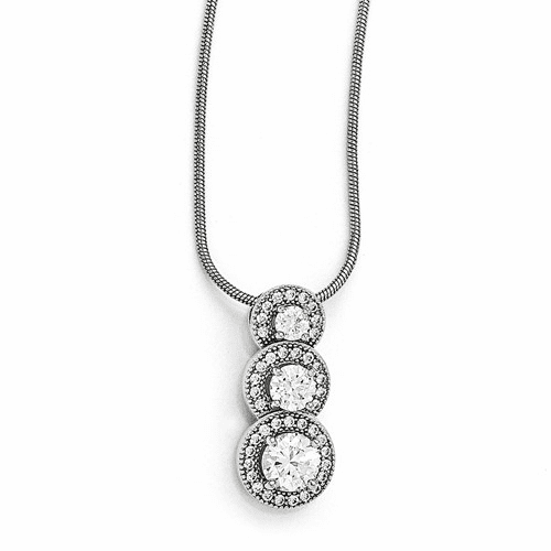 Sterling Silver & Cz Brilliant Embers Polished Necklace Qmp309-18