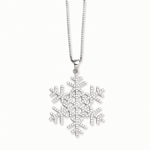 Sterling Silver & Cz Brilliant Embers Snowflake Necklace Qmp777-18