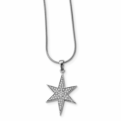 Sterling Silver Cz Brilliant Embers Star Necklace Qmp1396-18