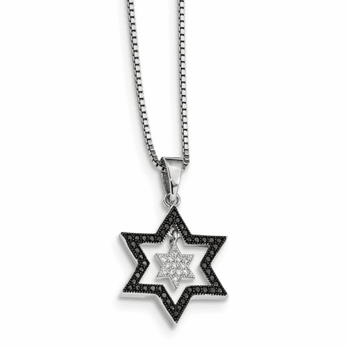 Sterling Silver & Cz Brilliant Embers Star Necklace Qmp158-18