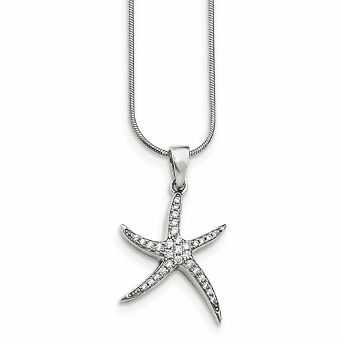 Sterling Silver & Cz Brilliant Embers Starfish Necklace Qmp1420-18