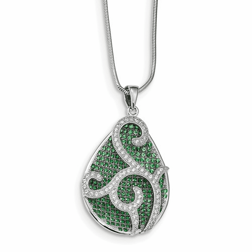 Sterling Silver & Cz Brilliant Embers Teardrop Necklace Qmp1253-18