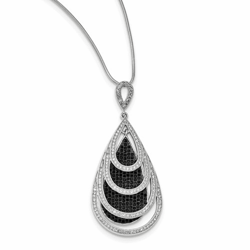Sterling Silver & Cz Brilliant Embers Teardrop Necklace Qmp1257-18