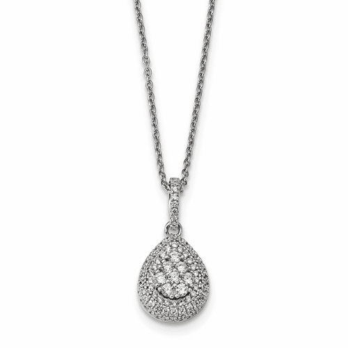 Sterling Silver & Cz Brilliant Embers Teardrop Necklace Qmp1271-18