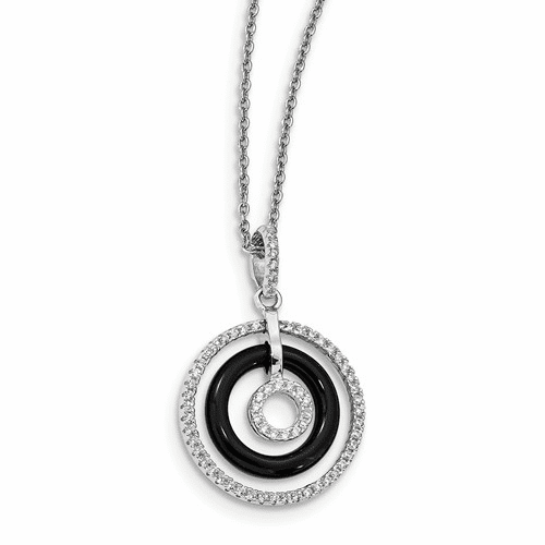 Sterling Silver Cz & Onyx Brilliant Embers Circles Necklace Qmp974-18