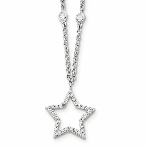Sterling Silver Cz Star Necklace Qg2619-16