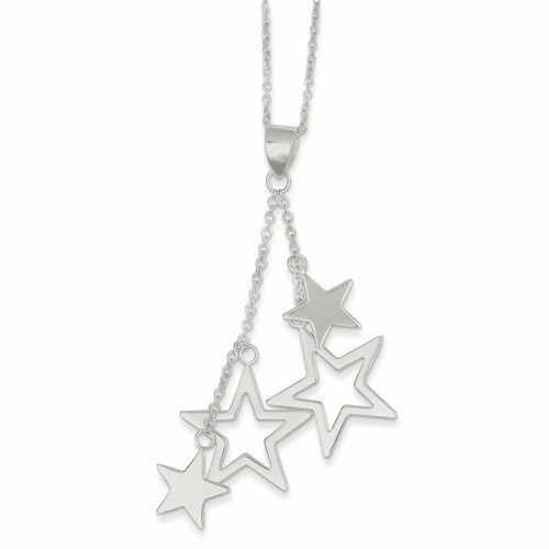 Sterling Silver Dangling Stars Necklace Qg2611-18