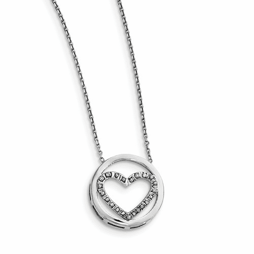 Sterling Silver Diamond Mystique Circle W/heart 17in Necklace Qdf146