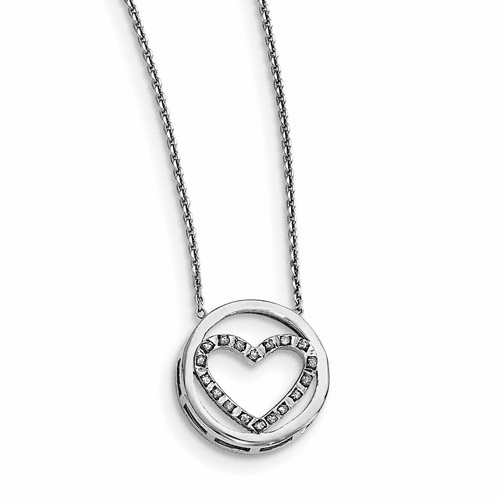 Sterling Silver Diamond Mystique Circle W/heart 17in Necklace Qdf147