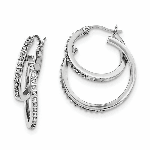 Sterling Silver Diamond Mystique Double Hoop Earrings Qdf177
