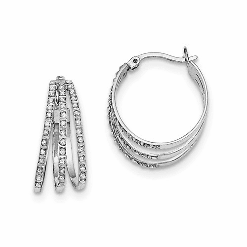 Sterling Silver Diamond Mystique Oval Hoop Earrings Qdf171