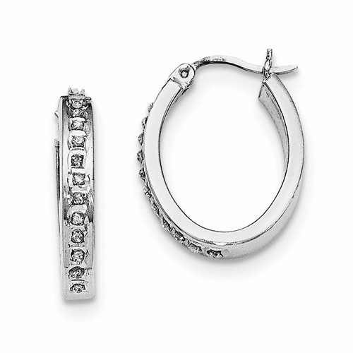 Sterling Silver Diamond Mystique Pear Hoop Earrings Qdf140
