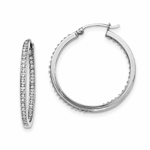 Sterling Silver Diamond Mystique Round Hoop Earrings Qdf119