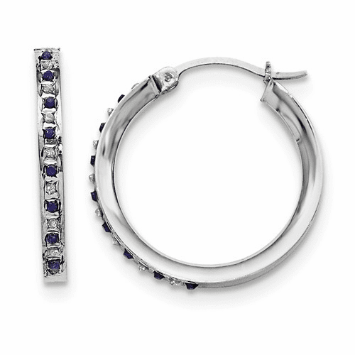 Sterling Silver Diamond & Sapphire Round Hoop Earrings Qdf132