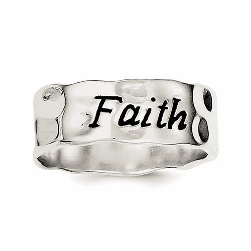 Sterling Silver Enamel, Hammered & Polished Faith Ring Qr2701-8