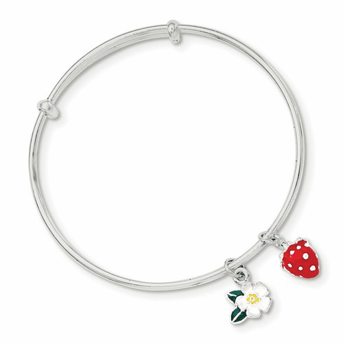 Sterling Silver Enamel Kid's Flower And Strawberry Bangle Qb887