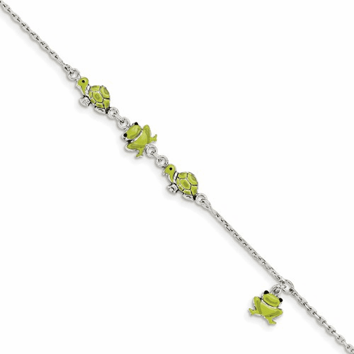 Sterling Silver Enamel Turtle And Frog 6in Bracelet Qg3546-6