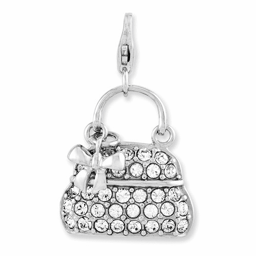 Sterling Silver Enameled 3-d Purse W/lobster Clasp Charm Qcc893