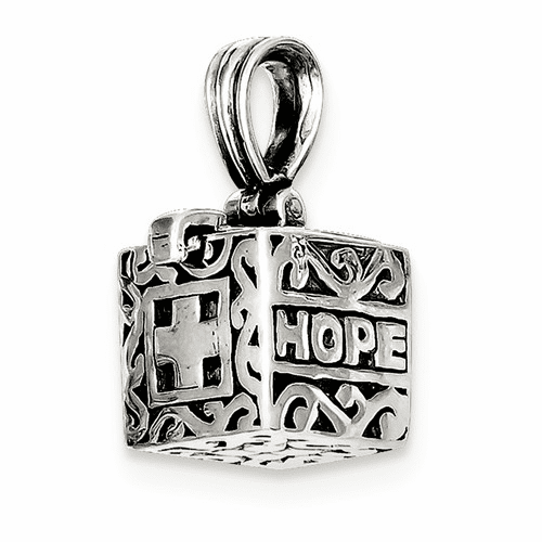 Sterling Silver Faith & Hope Prayer Box Pendant Qc3658