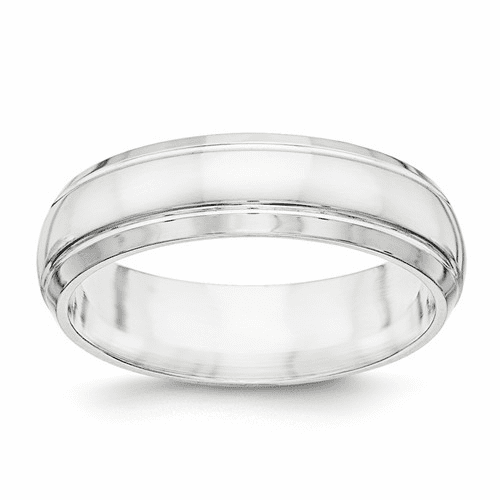 Sterling Silver Fancy Band with Beveled Edge