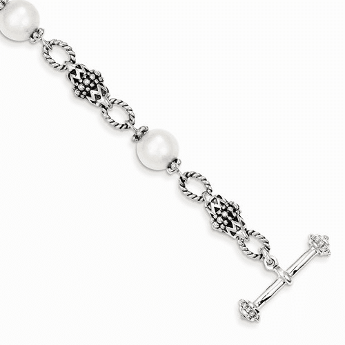 Sterling Silver  Fw Cultured Pearl Bracelet Qtc428