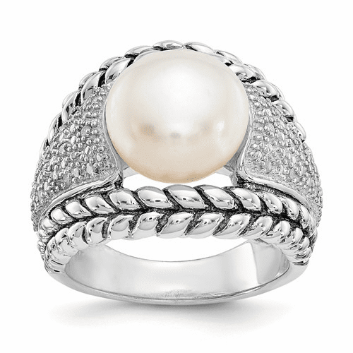 Sterling Silver Fw Cultured Pearl & Diamond Ring Qtc101-7