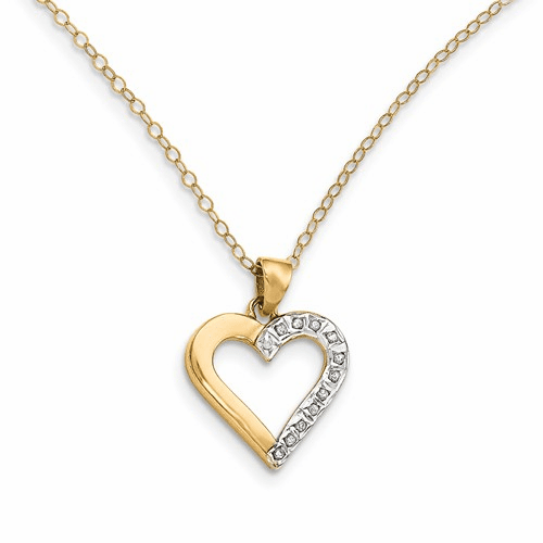 Sterling Silver & Gold-plated Dia. Mystique 18in Heart Necklace Qdf102