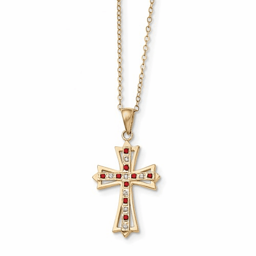 Sterling Silver & Gold-plated Dia. & Ruby 18in Cross Necklace Qdf128