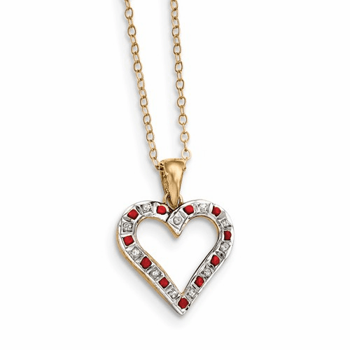 Sterling Silver & Gold-plated Dia. & Ruby 18in Heart Necklace Qdf136
