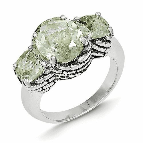 Sterling Silver Green Quartz Ring Qtc82-7