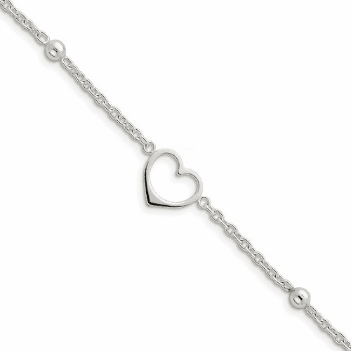 Sterling Silver Heart Anklet W/1 In Ext Qg1351-10