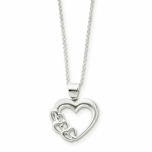 Sterling Silver Heart Necklace Qg2589-18