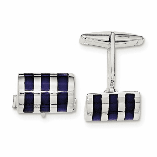 Sterling Silver Lapis Cuff Links Qq577