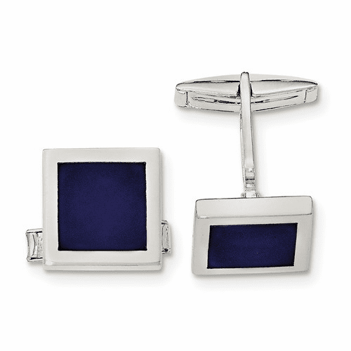 Sterling Silver Lapis Cuff Links Qq581