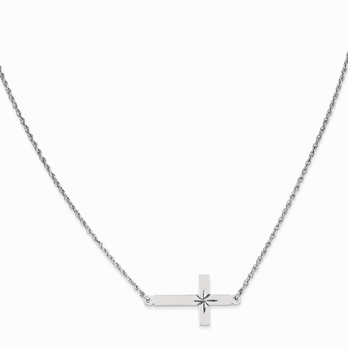Sterling Silver Large D/c Sideways Cross Necklace Qg3467-18