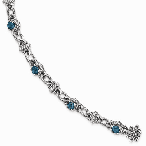 Sterling Silver London Blue Topaz Bracelet Qtc1375