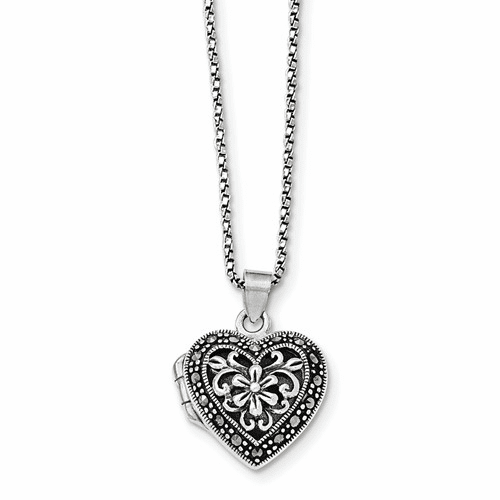 Sterling Silver Marcasite Heart Locket W/chain Necklace Qg1942-18