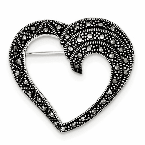 Sterling Silver Marcasite Heart Pin Qp332