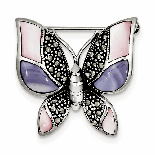 Sterling Silver Marcasite Mother Of Pearl Butterfly Pin Qp349