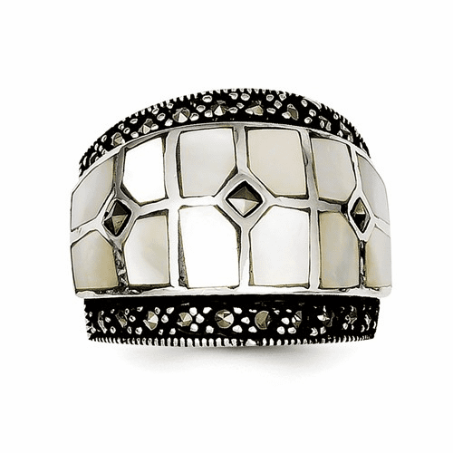 Sterling Silver Marcasite & Mother Of Pearl Ring Qr1471-7